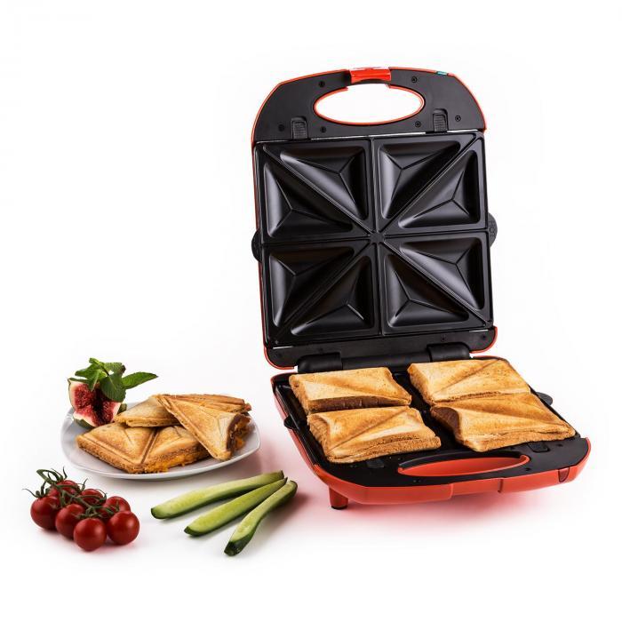 Trinity 3 az 1-ben szendvicssütő XXL, 1300 W, piros