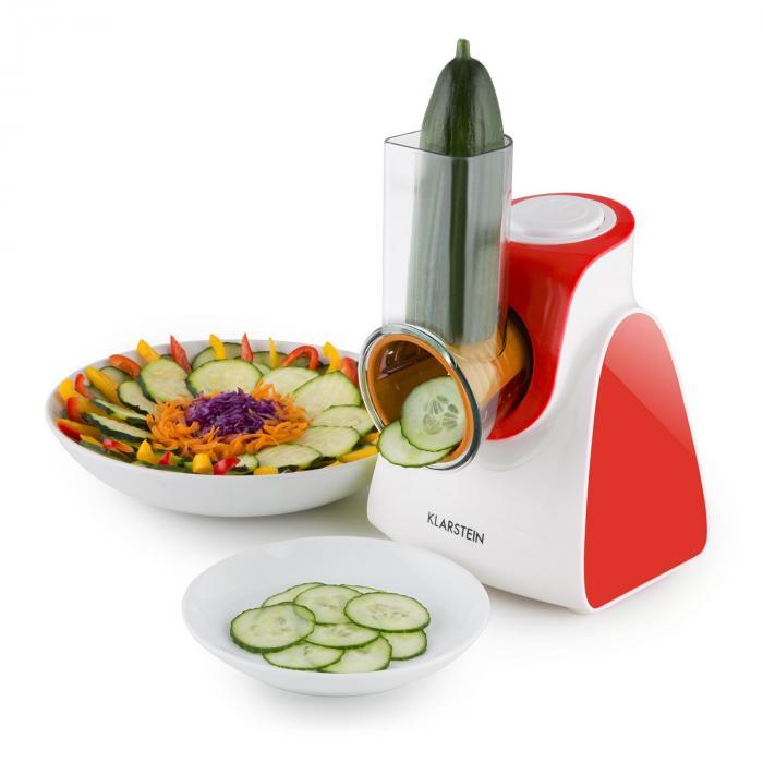 Carrot & Rock, 150W, piros, elektromos zöldségszeletelő, 5 kiegészítő